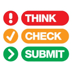 Think, check, submit an article icons