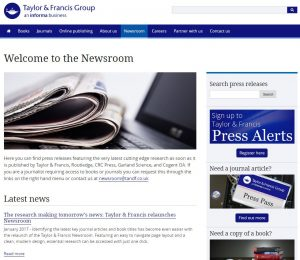Taylor & Francis, Welcome to the Newsroom webpage : A new look, and new services for journalists