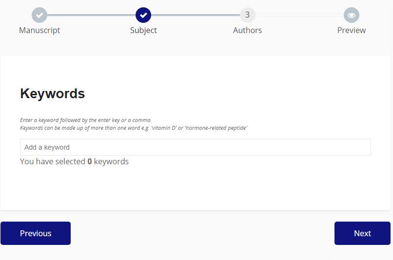Submission Portal keywords