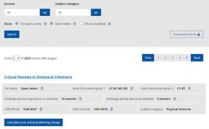 open access cost finder